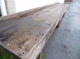ANTIQUE PINE BENCH TABLE 17FT