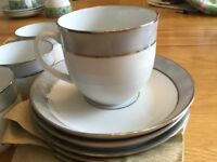 6 white and grey cups and saucers by Eschenbach. As new. Never been used.