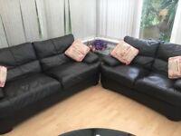 Dark chocolate 2&3 seater leather sofas - URGENT!!!!
