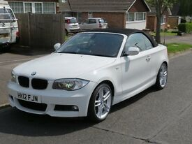 BMW 2012 1 Series 125i M Sport Convertible 3.0L Petrol, Alpine White, Superb Throughout