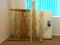 Pine Bedroom set, double bedframe, bedside table and second hand mattress