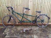 Dawes galaxy tandem bicycle - 27 speed, green, rear disc brake, front suspension fork, rear pannier