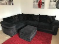Black corner suite sofa & matching pouffe