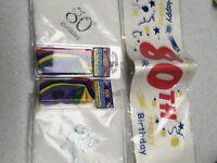 80th Birthday Banner, Napkins, Balloons