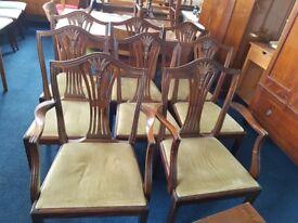 Set of 8 mahogany 'Wheatsheaf' design dining chairs (6 hand chairs, 2 carvers)