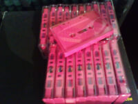 19x C9 Fuschia Candy Pink BLANK CASSETTE TAPES + CASES