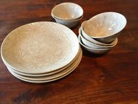 WONKI WARE South African dinnerware label: A brand new set of 6 plates and 6 bowls