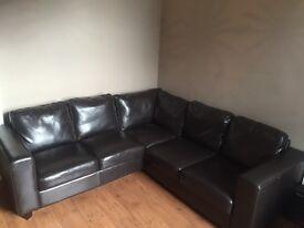 Leather corner sofa dark brown