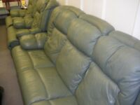 GREEN LEATHER THREE-PIECE ELECTRIC RECLINER SUITE