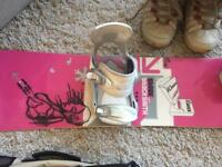 Ladies Snowboard, bindings, boots and carry bag
