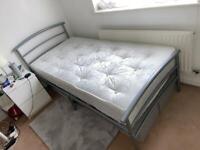 Single bed - metal frame and Slumbernights orthopaedic mattress