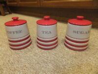 set of 3, coffee, sugar and tea jars