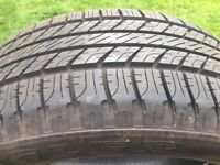 Land Rover M+S Goodyear Wrangler HP 255-55-19 tyres. One 7.5mm, one 5mm of even tread. Excellent!