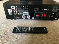 Yamaha HTR3063 receiver, sub and 5 speakers plus Pioneer BDP 150 Blu Ray player.