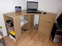 Beech effect corner desk with storage £20