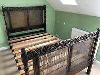 "Vintage/Antique Harrods 4""6 Rattan Bed"