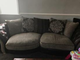 Three seat and two seater fabric sofa suite