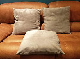 3 Grey suede effect cushions