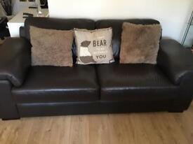 2 and 3 seater brown leather sofa