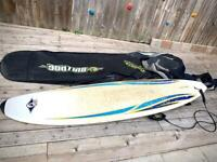 Surfboard - 7ft 3 Bic Minimal. Plus bulldog surfboard bag and size medium wetsuit.