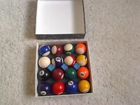 POOL BALLS in excellent condition with 3 chalks