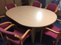 Office meeting tables, round, oval and rectangular with chairs