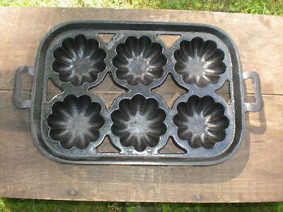 Antique Early  Muffin Cupcake Popover Pan Cast Iron Gatefold