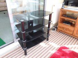 Black glass T.V. stand.