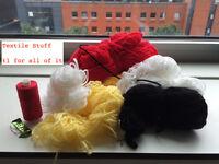 Textile stuff - bundles of yarn, needles, thread. £1