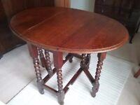 Oak Barley Twist oval gateleg drop leaf table