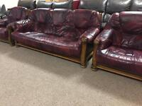 3-1-1 Red Oxblood Leather Suite