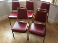 Five retro stackable chairs delivery possible