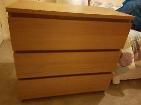 ikea malm chest of drawers - 3 drawers oak veneer