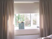 Dunelm Mill Light Beige pencil pleat bedroom curtains, lined. Very Good Condition