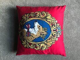 M & S Royal Corgi red cushion