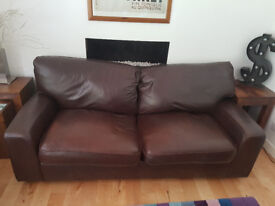 Marks and Spencer Brown leather large seater sofa & two armchairs. £3200 originally. £200 ono.