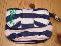 Animal Purse, blue & white fabric with inside zip/popper fastening.