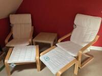 2 x Ikea Poäng Chairs & Footstools