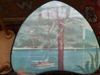 1950's occasional table with Italian lake scene. In Newcastle not Harrogate