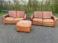 Tan leather sofas/footstool + Delivery