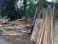 Large quantity of reclaimed timber.Free to collect or delivered for a small charge.