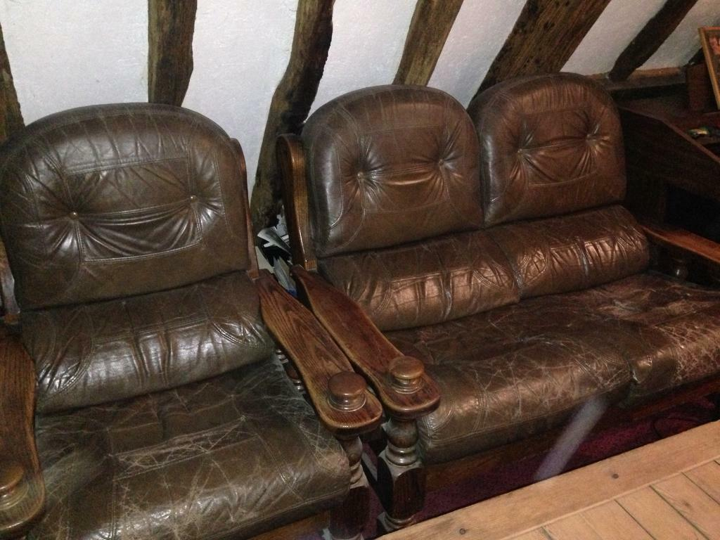 Brown leather and wood sofa / settee / armchair 3 piece suite