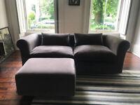 Habitat Joseph 3 seat sofa, lover's seat and ottoman