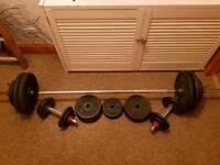Joe WEIDER Vintage Cast Iron weights and Bars