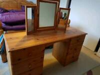 Antique solid pine dressing table
