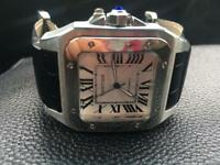 Men's Cartier Santos XL Automatic Black Leather Watch - Brand New