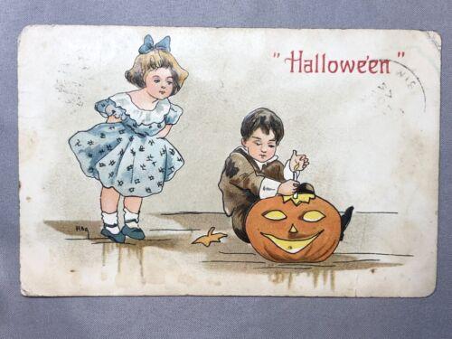 1908 HALLOWEEN Jack O Lantern Carving Antique POSTCARD Illustration HB GRIGGS