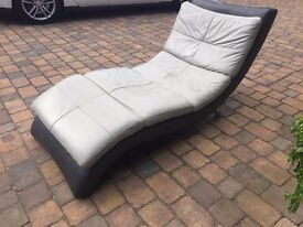 Leather lounger grey