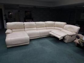 Gorgeous cream leather recliner corner sofa