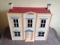 Dolls House (Childs) with wooden furniture house made of wood & ply wood VGC
